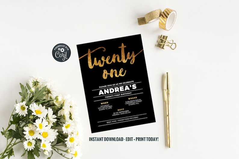 PRINTABLE 21st birthday party invitation gold foil effect with image 0