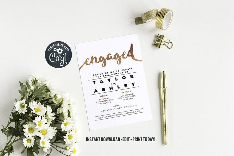 Engagement Party Invitation  Instant Download  Faux Copper image 0