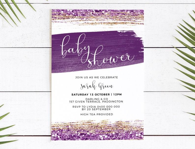 Baby Shower invitation gold glitter plum purple  baby shower image 0