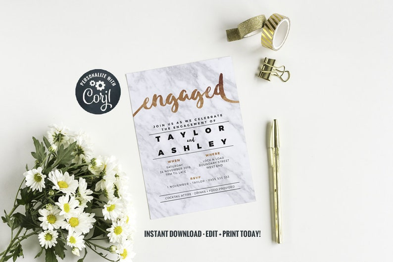 Engagement Party Invitation  Instant Download  Faux Rose image 0
