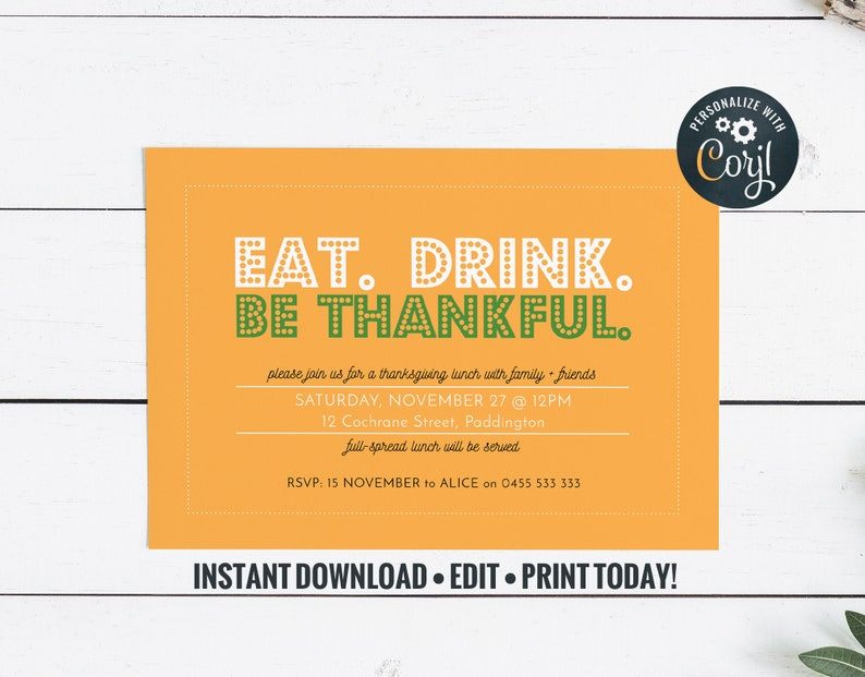 Thanksgiving Invitation in fall colors : Eat Drink Be Thankful image 0