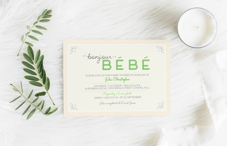 Bonjour Bebe French Baby Shower Invitations Bebe Shower image 0