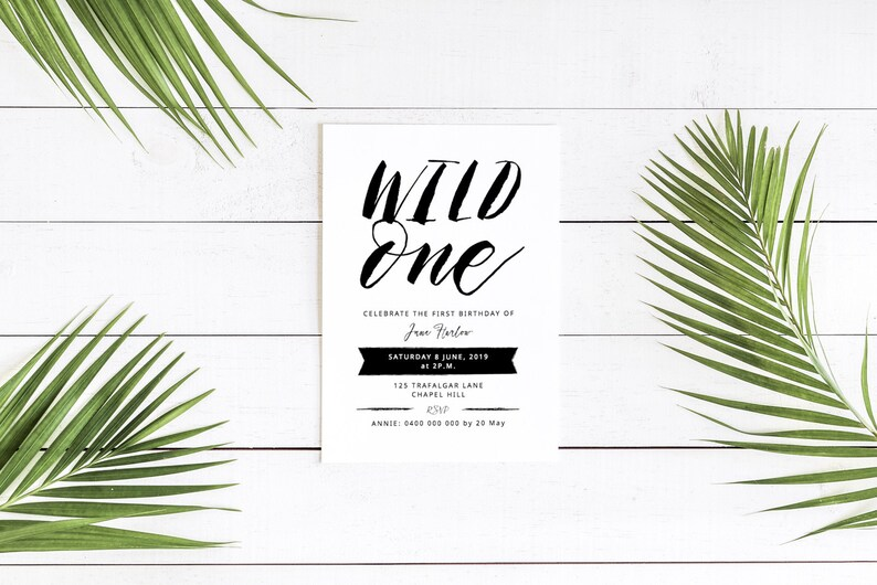 First Birthday Invitation / Wild One printable invitation / image 0