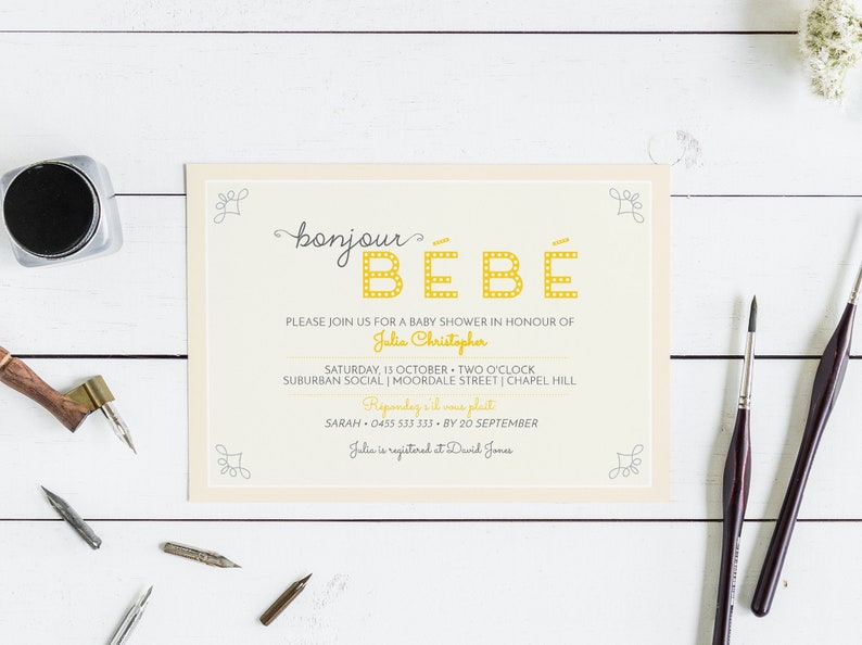 Bonjour Bebe French baby shower invitation template / templett image 0