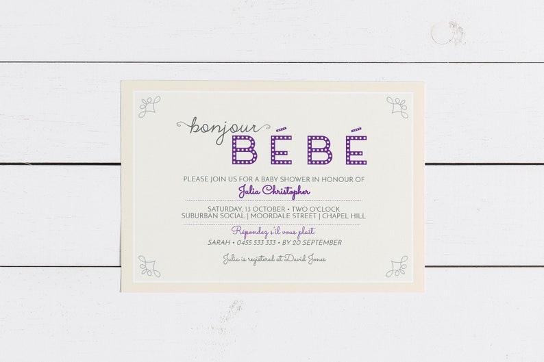 Bonjour Bebe French Baby Shower Invitations Bebe Shower image 0