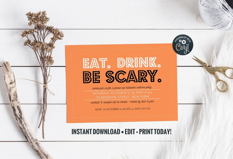Instant Download Halloween Invitation in Orange and Black : image 0