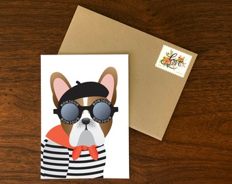Custom French Bulldog Bonjour Sunglasses Card