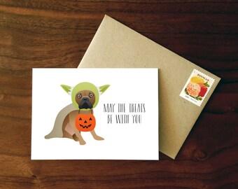 Custom French Bulldog Halloween Card  |  Yoda