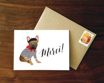 Custom French Bulldog Merci Card