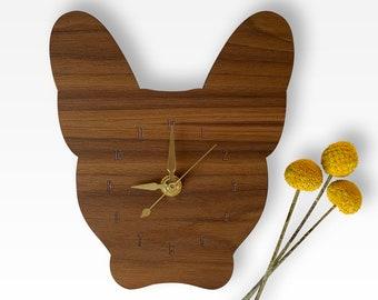 French Bulldog Wall Clock | Walnut and Brass