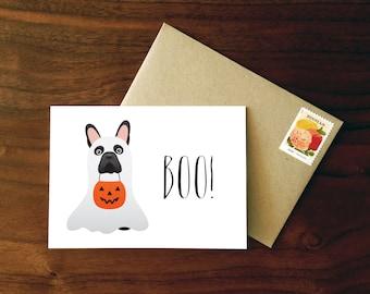 Custom French Bulldog Halloween Card  |  Ghost