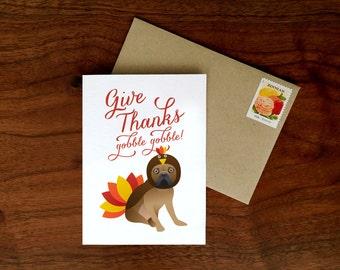 Custom French Bulldog Thanksgiving Card | Give Thanks