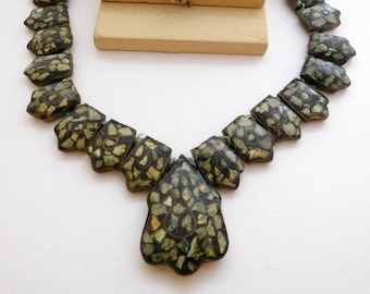 Antique Vintage India Turquoise Inlay Mosaic Over Brass East Indian Necklace L3