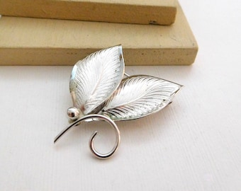 Vintage Signed Inc Sterling Silver Mid Century Modernist Leaf Brooch Pin E34