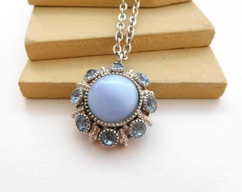 Vintage Avon Moon Magic Blue Moonglow Rhinestone Silver Pendant Necklace E32