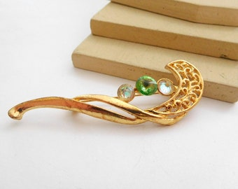Retro Gold Tone Green AB Crystal Rivoli Rhinestone Flourish Bar Brooch Pin C5