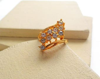 Vintage Gold Tone Clear White Rhinestone Waterfall Cocktail Ring Size 6.5 M46