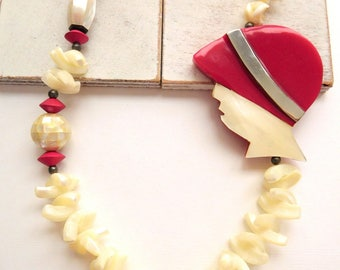 Vintage Chunky Mother Of Pearl Bead Woman With Pink Hat Side Accent Necklace X27
