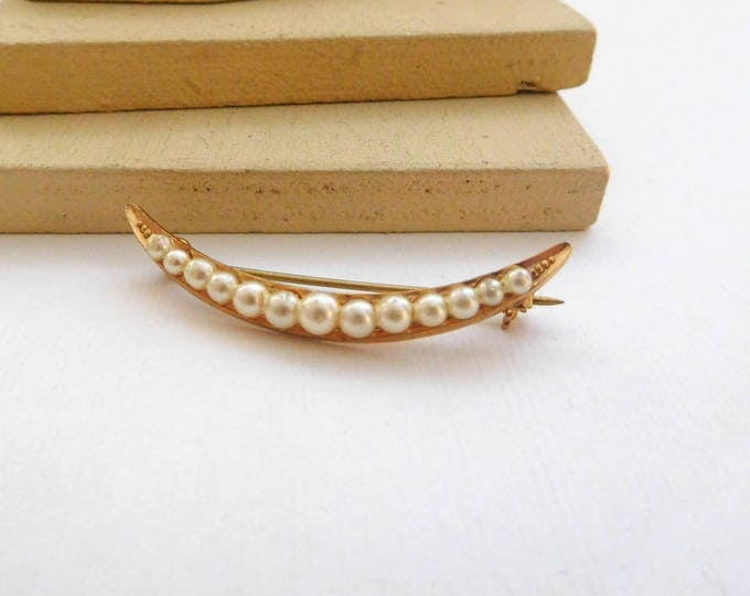 Featured listing image: Vintage Gold Tone White Faux Pearl Skinny Crescent Moon Brooch Pin D18