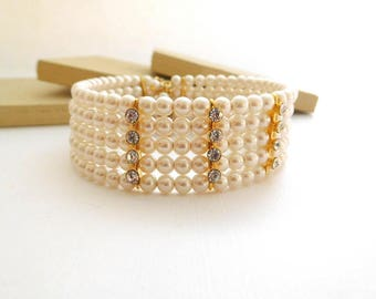 Late Vintage White Faux Pearl Rhinestone Layered Cuff Bangle Wrap Bracelet F43