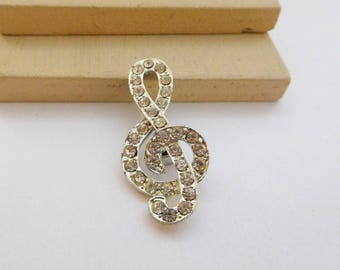 Vintage Clear White Rhinestone Silver Tone Treble Clef Music Brooch Pin D29