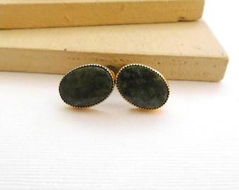 Vintage Green Jade 12k Gold Filled Oval Screw Back Earrings N22