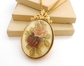 Vintage Unsigned Avon Purple Pink Victorian Rose Pendant Necklace F46
