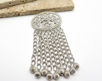 Mother day Gift Vintage Large Silver Sarah Coventry Chain Tassel Brooch Dangle Chain Brooch Pin,Hallmark vintage jewelry Women broaches