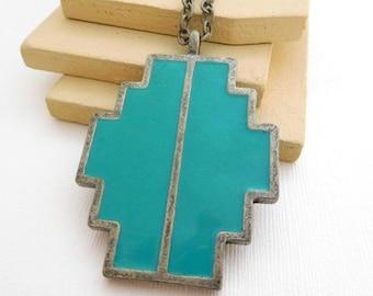Retro Distressed Silver Turquoise Blue Enamel Southwestern Pendant Necklace SS15