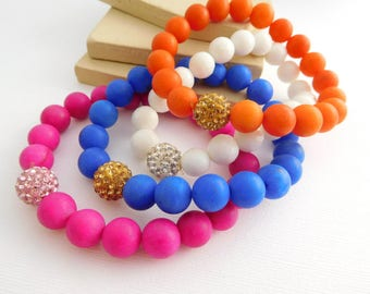 Set 4 Retro Pink Blue White Orange Glass Crystal Bead Stretch Bracelets GG43