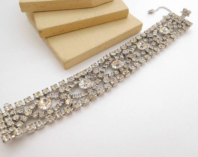 Featured listing image: Vintage Signed By Gale Clear Rhinestone Wide Chunky Glam Bracelet H30