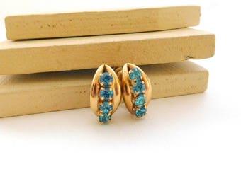 Vintage Turquoise Blue Rhinestone Gold Tone Small Hoop Screw Back Earrings K3