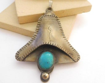 Vintage Native American Navajo Sterling Silver Turquoise Liberty Bell Pendant E3