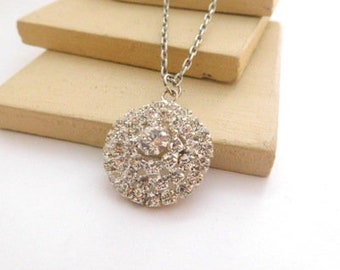 Retro Vintage Clear White Rhinestone Flower Pendant Silver Chain Necklace A13