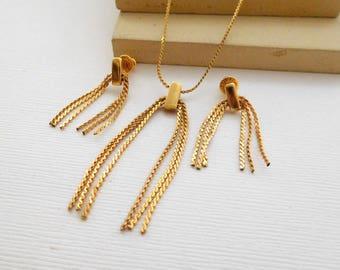 Vintage Napier Yellow Gold Tone Tassel Pendant Choker Necklace Earrings Set KK34