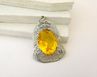 Antique Art Deco Sterling Silver Citrine Glass Lavalier Pendant Necklace CC24