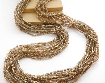 Vintage Golden Champagne Light Brown Glass Bead Layered Waterfall Necklace M37
