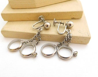 Vintage Signed Alice 'The Bridal Pair' Wedding Ring Charm Screw Back Earrings R9