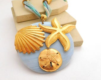 Retro Blue Ribbon Abalone Shell Starfish Shell Sand Dollar Pendant Necklace L25