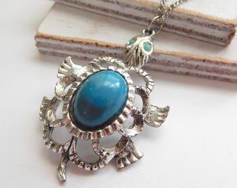 Vintage Silver Faux Turquoise Blue Tribal Southwest Turtle Pendant Necklace P23