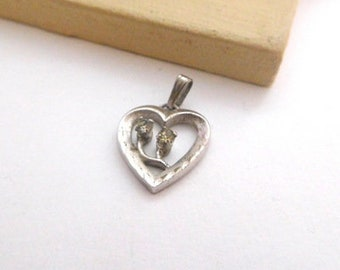 Vintage Sterling Silver Rhinestone Flower Etched Heart Charm Pendant I19