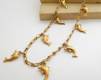 Retro Vintage Yellow Gold Tone Dolphin Charm Chain Necklace L7
