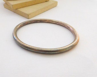 Vintage Signed Monet Silver Plated Oval Mod Minimalist Bangle Bracelet P32