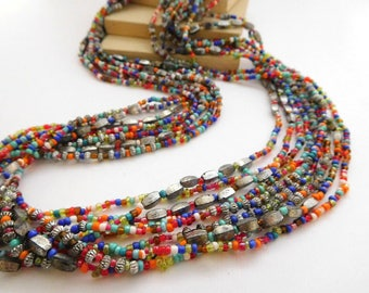 Vintage Layered Multi-Color Glass Silver Tone Bead Waterfall Necklace M31