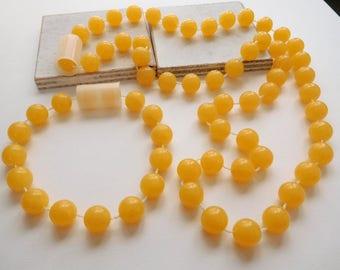 Retro Vintage Butterscotch Yellow Chunky Fixed Bead Necklace & Bracelet Set W5