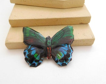Vintage Blue Green Brown Tin Butterfly Brooch Pin E43