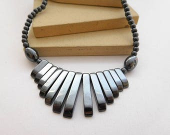 Retro Silver Gray Hematite Bead Art Deco Modernist Design Necklace M17