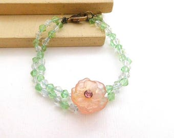 Retro Vintage Green Clear Glass Bead Pink Rhinestone Flower Bracelet P19