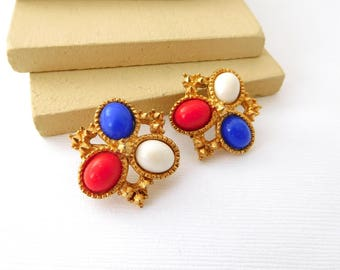 Vintage Sarah Coventry 'Americana' Red White Blue Gold Clip On Earrings DD3