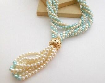 Vintage Pastel Baby Blue White Faux Pearl Bead Tube Rope Tassel Necklace N46